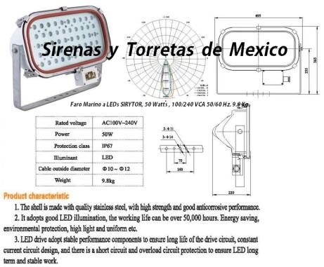 faro marino LED 50 Watts bco.
