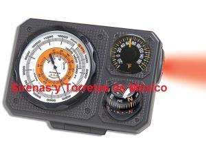 altímetro con termómetro y brújula