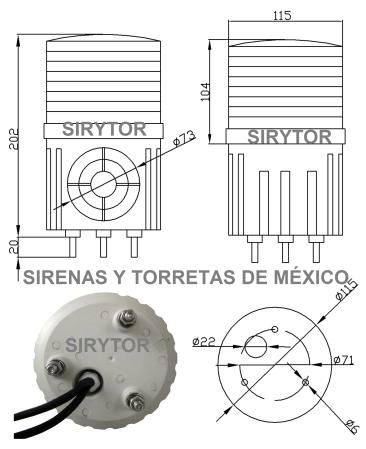 ARTÍCULOS DE VENTA 2014 SIRENAS Y TORRETAS DE MÉXICO Rorreta-con-sirena-sirytor-t-100-especeif